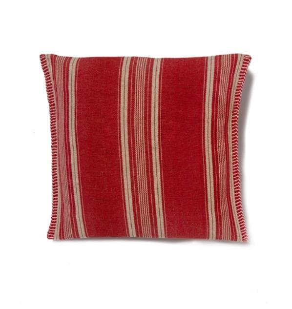 Almofada vermelha escuro com listras beges da Le Lis Blanc do guia de presentes para o dia das mães EAMR