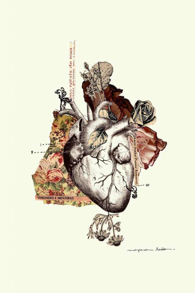 Colagem apresenta um coração e flores.