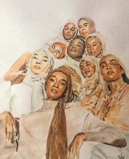 A tela da artista mostra um grupo de 9 mulheres pretas, com os mais diversos tons de pele, juntas, com rostos próximos, de olhos fechados num gesto carinhoso. Elas tem lenços em suas cabeças e vestem roupas com tons terrosos.