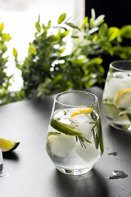 Foto do drink com gin, gin tônica com alecrim e zimbro em dois copos.
